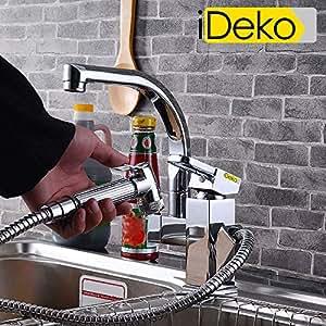 ideko robinet mitigeur de cuisine avec douchette extractible en laiton chrome tendance moderne. Black Bedroom Furniture Sets. Home Design Ideas