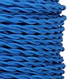 (MLCA024) 3 Core Midnight Blue - ANTIQUE TWISTED BRAIDED WOVEN SILK FABRIC LAMP FLEXIBLE CABLE WIRE