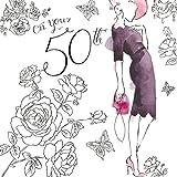 Twizler Geburtstagskarte, für Damen, zum 50. Geburtstag, mit Swarovski-Kristallen besetzt, silberfoliert, Aquarell-Effekt, Motiv Cocktailkleid