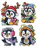 Plastica tela pinguino di Natale ornamenti, set di 4kit punto croce