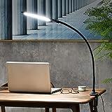 Lampe de Bureau LED Col de Cygne Flexible à Bras Long avec Pince, 3 Modes de Couleur et Gradation en Continu, Contrôle Tactil