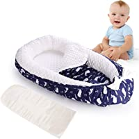Baby nest pod, Deluxe Newborn Lounger Soft Breathable Cotton Foam Hypoallergenic Bionic Bed with 2 Replaceable Mattresses (Blue/Dolphin)