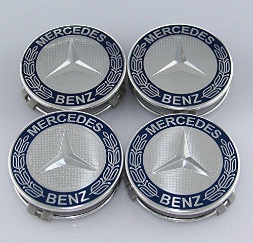 4 copricerchi a Forma di Stella con Corona di Alloro Blu Scuro Effetto 3D per Mercedes Benz copricerchi coprimozzo con Anello di Fissaggio