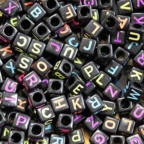 Perles Carrées Alphabet Noires et Fluo pour Fabrication de Bijoux et Loisirs Créatifs par CurtzyTM