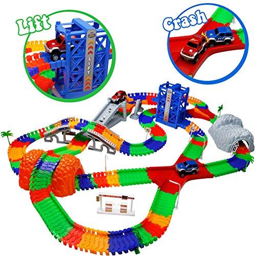 Car Track mit 2 Electric Auto Eisenbahn Autorennbahnen Montage Spielzeug Rennbahn Spiel Set für Kinder,505 cm Länge
