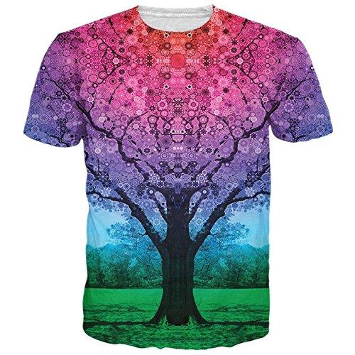 BFUSTYLE Herren T-Shirt Kurzarmshirt Top Unisex Casual 3D Muster Kurzen Ärmels Gedruckt Top Tees Galaxy Baum