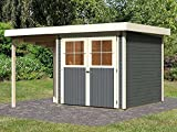 Karibu Gartenhaus LIMBURG 5 + Anbaudach terragrau Gerätehaus 242x246cm 19mm