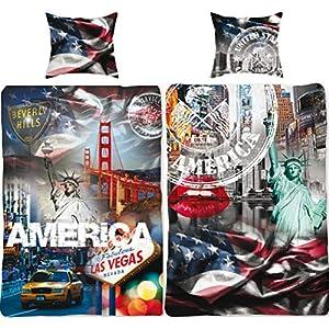 USA Bettwäsche-Set Stars and Stripes 135x200 + 80x80 cm 100% Baumwolle Amerika Bettbezug Blau Weis Rot New York Taxi Las Vegas San Francisco Stern-e Sternchen 2 Motive deutsche Größe Reißverschluss
