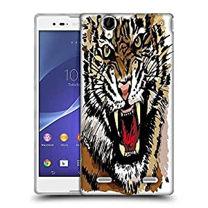 Snoogg sketch of tiger vector illustration Designer Protective Back Case Cover For Sony Xperia T2 Ultra