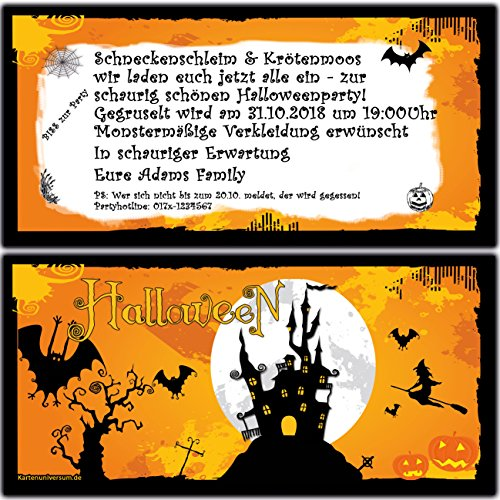 Einladungskarten Zur Halloween Party Einladung Geburtstag Feier   40 Stück  Halloween Grusel Ticket Motto Party Eintrittskarte: Amazon.de: Bürobedarf U0026  ...