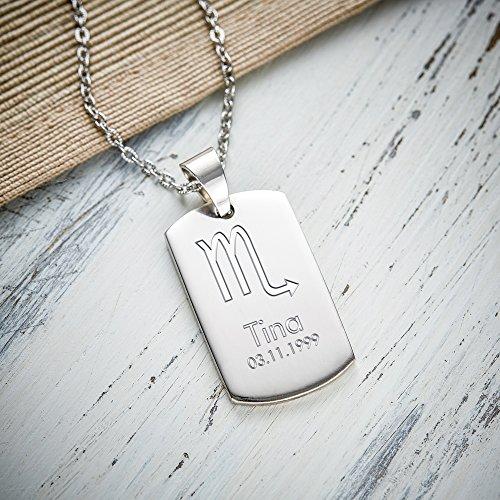 Collier avec pendentif en acier inoxydable - Dog Tag - Plaque Militaire - Gravure Signe du zodiaque - Symbole - Personnalisé avec nom et date - Bijoux Scorpion