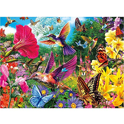 MXJSUA DIY 5D Diamond Painting Full Round Drill Kits Rhinestone Picture Art Craft for Home Wall Decor 12X16In Hummingbird Bird Flowers Butterfly - Giant Paper Flowers Kit