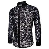 NEEKY Herren Nachtclub Langarm Revers Hemd Herren Durchsichtige Blumenspitze Transparente Bluse Langarm Button-Down-Shirts(2XL,Blau)