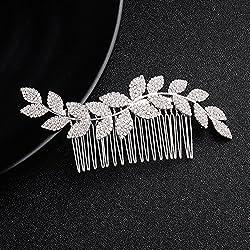 Deniferymakeup Diadema de cristal, para novia, accesorio para el pelo, boda, boda, novia, joyería de cristal con peines para novia, accesorios para el pelo de boda