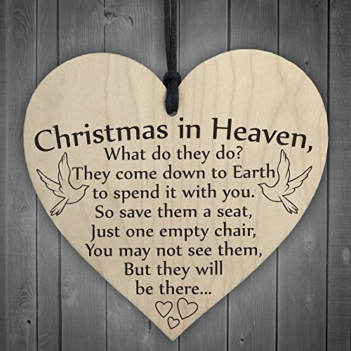 Red Ocean Christmas In Heaven Xmas Tree Decoration Memorial Quote Heart Plaque Love Poem