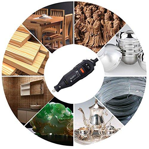 KKmoon Professionelle elektrische Schleifen Set 110-230V AC Regulierung Speed Drill Grinder Tool für Fräsen Polieren Bohren Schneiden Gravieren-Kit mit 114st Zubehör - 7