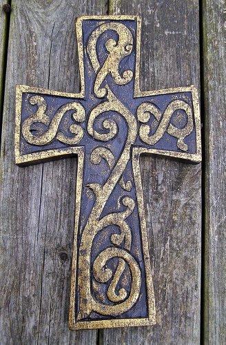 Le Fleur croce in legno, da appendere, commercio equo e solidale, 25 cm, finitura: Oro anticato