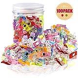 Bystep 100 Stück Nähklammern 2.7X1X1.7 CM Perfekt für Nähen, - Clips, Quilting Clips, Bastelklammern, Häkeln, Klammern. Mit PS Box Paket, Diverse 9 Helle Farben.
