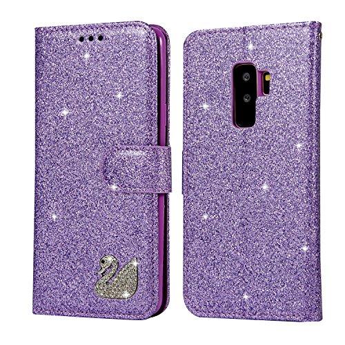 Huphant kompatibel mit Samsung Galaxy S9 Handyhülle Glitzer Leder Hülle Wallet Flip Schutzhülle Tasche mit Galaxy S9 Kartenfach Geldklammer Ständer Kartenfächer Magnet -Schwan Lila