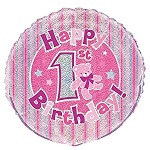 Unique Party Globo foil cumpleaños Happy 1st Birthday Color rosa 45 cm 55483