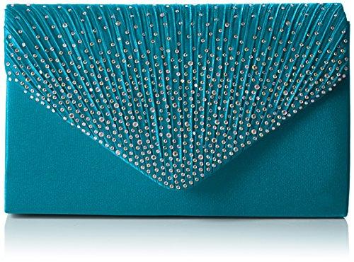 SwankySwansAbby Diamante Envelope Style Bag - Sacchetto donna Green (Teal)