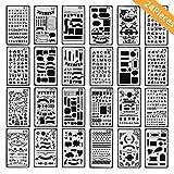 Pawaca Bullet Journal Schablonen 24 Stück Zeichenschablonen Sticker Scrapbooking Stempel Kalender Scrapbook Zubehör Lineal Formen Malen Bullet Tagebuch Schablone Handwerk für Reisen Geschenk