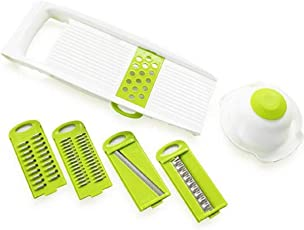 H-Store 6-in-1 Plastic Multi-Function Vegetable Slicer and Grater with Holder (Multicolour)
