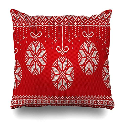 ZiJface Throw Pillows Covers Year Red Jumper Winter Holiday Knitting Pattern Christmas Northern New Abstract Sweater Knit Fair Home Decor Pillowcase Square Size 18 x 18 Inches Cushion Case - Zip Knit Jumper