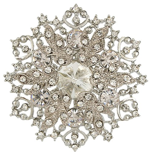 EVER FAITH® austriaco di cristallo elegante bouquet da sposa Spilla Pin Clear - 2 pollici x 2 pollici