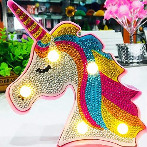 Greatminer - Kit de pintura de diamantes con luz LED de noche, diseño de unicornio 5D, kit de dibujo completo de cristal, lámpara de mesita de noche, manualidades, decoración del hogar o regalos