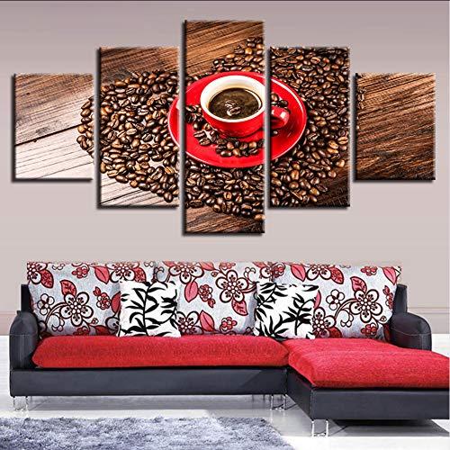 syssyj (Kein Rahmen) Gedruckt Modular Hd Bild Leinwand5 Stücke Herzform Kaffeebohnen Gemälde Wandkunst Moderne Poster Dekor Für Wohnzimmer