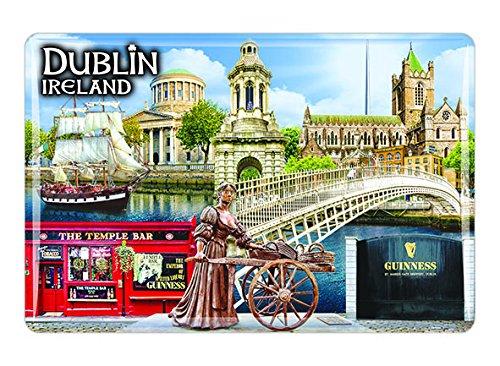 Irischer Dublin-Magnet aus Epoxidharz mit Collage aus Molly Malone, Ha'penny Brücke -