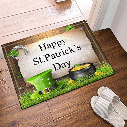 hdrjdrt Happy Patrick's Day Green Hat Schwarzer Zylinder Gold Coin Grass Clover Badezimmermatte Weiche, saugfähige, Rutschfeste und Abriebfeste Oberfläche - Hat Day Green