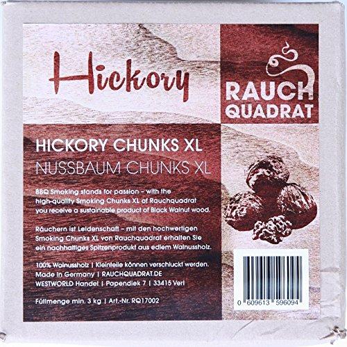 rauchquadrat Räucherchips Hickory XL Smoking Chunks 3 kg Nussbaum Holz Chips Zum Grillen Räuchern BBQ -