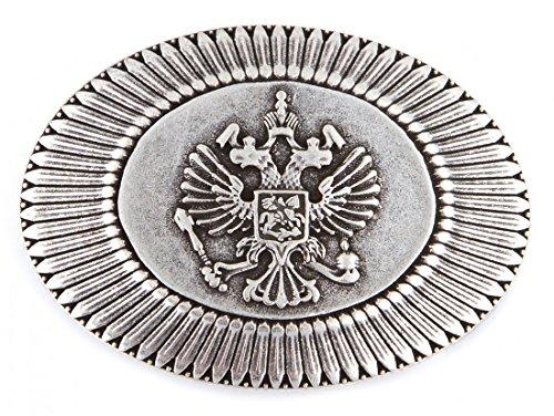 Gürtelschnalle - Schließe silber - Wappen Russland rund Reiter Pferd - hochwertige Geschenk Idee Geburtstag (Trachten Russland)