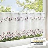 Gardinenbox Romantik Primavera para cocina/blancas Salón Bistro cortina/Moderno y transparente–Cortina para la primavera, poliéster, weiß, 45x115 cm