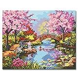 Peinture par numéros Kits Peinture à l'huile de bricolage avec pinceaux et pigment acrylique-Jardin japonais 16x20 pouces sans cadre par Rihe