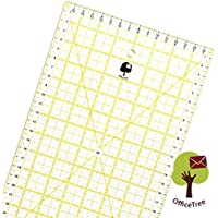 OfficeTree® Regla universal, regla de patchwork, regla acolchada, regla para corte - Manualidades de costura con las medidas y cortes exactos - transparente - 60 cm x 16 cm
