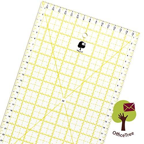 Office Tree Universal-Lineal Patchwork- Quilt- Rollschneider-Lineal - Nähen Basteln mit exakten Abmessungen und Zuschnitten - Transparent - 60 cm x 16 cm