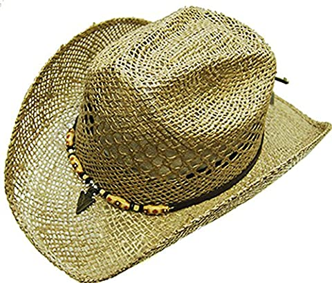Modestone Unisex Straw Chapeaux Cowboy Beaded Arrow Head Hatband Light Beige