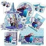62-teiliges Fiesta Set Disney Frozen Ice - El reino del Hielo Plato, taza, Servilletas, Mantel, bolsos de fiesta, Invitaciones, trinkhalme, CUPCAKE Soporte - para 8 Niños