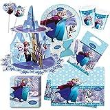 62-teiliges Party Set Disney Frozen Ice - Die Eiskönigin Teller, Becher, Servietten, Tischdecke, Partytüten, Einladungen, Trinkhalme, Cupcake Ständer - für 8 Kinder