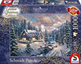 Schmidt Spiele Puzzle 59493 Thomas Kinkade, Weihnachten in den Bergen, Editio, 1000 Teile, bunt