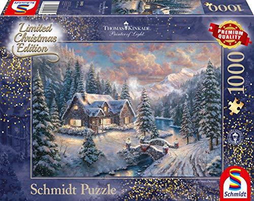 Schmidt Spiele Puzzle 59493 Thomas Kinkade, Weihnachten in den Bergen, Editio, 1000 Teile Puzzle, bunt