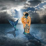 Artland Qualitätsbilder I Wandbilder Selbstklebende Premium Wandfolie 100 x 100 cm Liebe Erotik Frau Mixed Media Blau D3QH Die Meerjungfrau beim Baden
