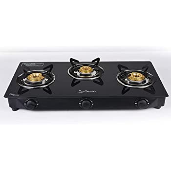 Gesto Vista Glass Top 3 Burner Gas Stove(Black Color)