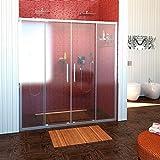 Duschkabine Nischentür 160cm breit, 200cm hoch, 2 Schiebetüren, Echtglas