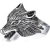 Juego de Tronos - Anillo de acero inoxidable con diseño de lobo de hielo para hombre y mujer