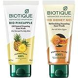Biotique Bio Honey Gel Face Wash for All Skin Types, 100ml & Biotique Bio Pineapple Oil Control Foaming Face Wash, 150ml