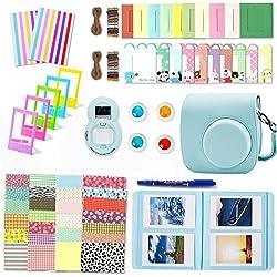 Leebotree 10 en 1. Accessoires Compatible avec Appareil Photo Instax Mini 9, Mini 8/8+, Le Package Comprend étui,Album, lentille, filtres, Cadres et Autres (Bleu Glace)